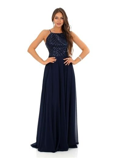 Carmen Askılı Pul Payetli Uzun Abiye Elbise Lacivert